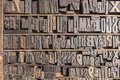 Letterpress alphabet collection of various wood type letters for printing Stock Photo