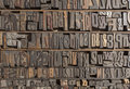 Letterpress alphabet collection of various wood type letters for printing Stock Photography