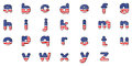 Letters of alphabet with the american flag design illustration on a white background Stock Photos