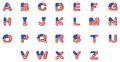 Letters of the alphabet with the american flag illustration on a white background Royalty Free Stock Photo