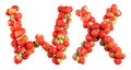 Letters alphabet of red ripe strawberries