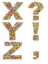 Letters of the alphabet x through z and punctuation marks made f from colorful glass beads on a white background Stock Photography
