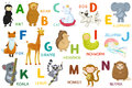 Letters and animals abc letter a n cartoon characters alphabet isolated Stock Photos