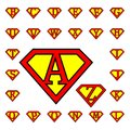 Letters drawings representing in superman style Royalty Free Stock Images