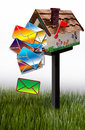Letters falling out of mailbox d illustration colorful garden on grass white background Stock Image