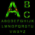 Letters of green mucus the alphabet with light red sore Stock Photos