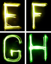 Letters painted with light Stock Photo