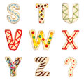Letters S to Z from decorated cookies Stock Photography