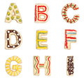Letters A to I from decorated cookies Stock Images