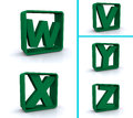 Letters V, W, X, Y and Z in square boxes Stock Photo