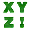 Letters x y z made of green grass isolated on white alphabet Stock Image
