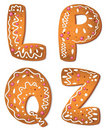 Lettre QLPZ de biscuits Images stock
