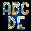 Lettres d alphabet d or et de diamant Images stock