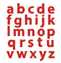 Lettres minuscules d'ABC de fonte rouge de roses. Photo libre de droits