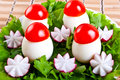 Lettuce, radish flowers and eggs in form mushroom. Royalty Free Stock Photos