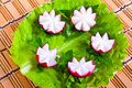 Lettuce and radish in form flowers. Stock Image