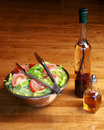 Lettuce salad with vinegar and oil Royalty Free Stock Image