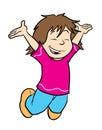 Leuk meisje dat voor vreugde springt Stock Foto's