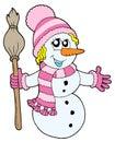Leuk sneeuwmanmeisje Stock Foto's