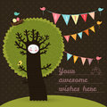 Leuke gelukkige verjaardagskaart met boom en vogels Stock Fotografie