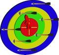 Leute des Pfeiles/target/a auf dem Ziel Stockbilder
