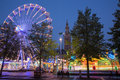 Leuven amusement park on monseigneur ladeuzeplein square in evening dusk september belgium Stock Photos