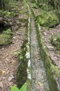 Levada do Poco Bezerro, empty without water, touristic hiking trail, Ribeiro Frio, Madeira island Royalty Free Stock Photo