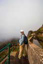 Levada fog walk a in thick around a mountain Stock Photos