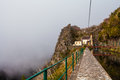 Levada mountain fog a walk in thick around a Royalty Free Stock Photo