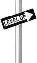 Level up conceptual one way street sign indicating Stock Photography