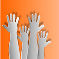 Levied hands against an orange background Royalty Free Stock Photography
