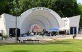 The levitt shell at overton park musicians practice for a performance formerly and theater is an open Royalty Free Stock Image