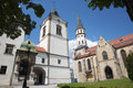 Levoca - Townhall and Saint Jacob s church Stock Images