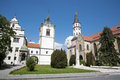 Levoca - Townhall and Saint Jacob s church Royalty Free Stock Photo