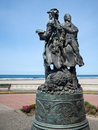 Lewis and clark seaside oregon memorial to looking west at the pacific ocean Stock Photos