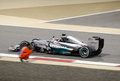 Lewis hamilton st position photographed by a mar shakir bahrain april of mercedes after finishing on sunday final night race april Stock Photography