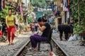 Lfe in Hanoi Train Strret Royalty Free Stock Photo