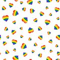 LGBT flag heart seamless pattern.
