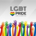 LGBT pride celebration banner with abstract group of colorful hand and rainbow heart sign vector design