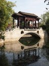 Liang yuan southern china style garden and half moon bridge in foshan guangdong china Stock Photos