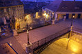 Liar s bridge in sibiu romania night moody scene of the the historical center of high angle Stock Photo