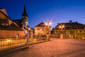 Liars bridge in sibiu image showing the small square near the at night the evangelical church tower is visible the background Stock Image