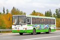 Liaz novyy urengoy russia august white and green city bus at the city street Royalty Free Stock Photos