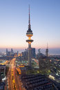 The liberation tower in kuwait city illuminated at night december middle east Royalty Free Stock Photo