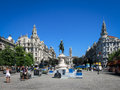 Liberdade square porto with king peter iv monument in portugal Royalty Free Stock Image