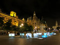 Liberdade square porto by night portugal Royalty Free Stock Photo