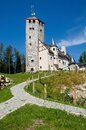 Liberecka vysina czech republic stone observation tower in mountains jizerske hory northern bohemia Royalty Free Stock Image