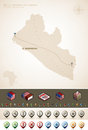 Liberia republic of and africa maps plus extra set of isometric icons cartography symbols set part of the world maps set vector Royalty Free Stock Image