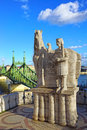 Liberty bridge budapest hungary monument to king and in Royalty Free Stock Photography