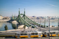 Liberty bridge of budapest with tram in the foreground a moving Stock Images
